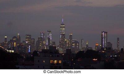 Fireworks over New York City celebrating USA Independence Day