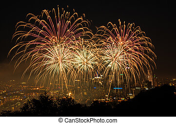 Fireworks over Pittsburgh on 4th of