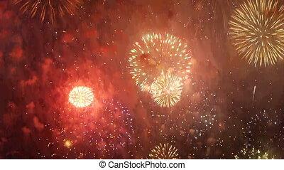 Fireworks over sea at night. Celebrating annivarsary. Great light Choreography and firework.