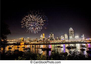 Fireworks Over Skyline - Fireworks exploding over the Ohio...