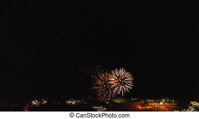 Fireworks over the city. Air shooting from the drone -...
