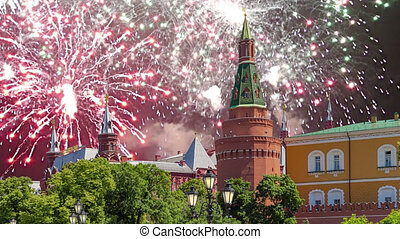 Fireworks over the Moscow Kremlin during Victory Day (WWII...