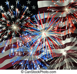Fireworks over US Flag 2 - Fireworks displayed over the...