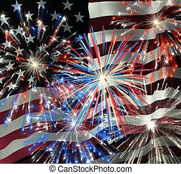 Fireworks over US Flag 2 - Fireworks displayed over the...