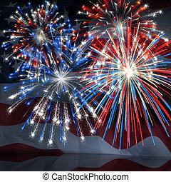 Fireworks over US Flag 3 - Fireworks displayed over the...