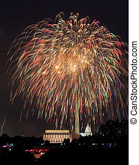 Fireworks over Washington DC on July 4th