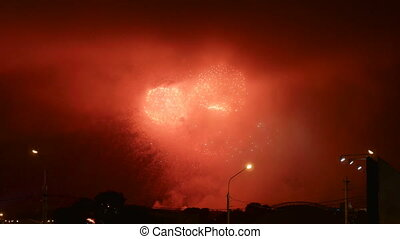Fireworks performance in holiday