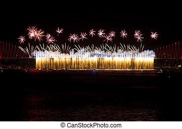 Fireworks - ISTANBUL - OCTOBER 29: Fireworks from Bosphorus...