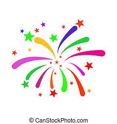 Fireworks Raster Icon Flat Illustration