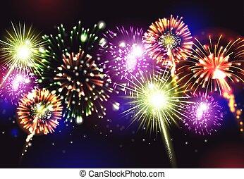 Fireworks Realistic Background