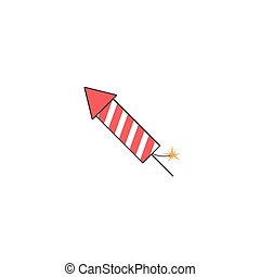 fireworks rocket solid icon, flying firecrackers, vector...