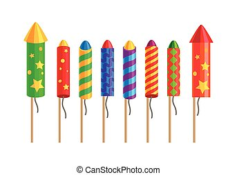 fireworks., rockets., tipos, set., pyrotechnic