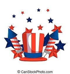fireworks rockets with tophat usa flag vector illustration...