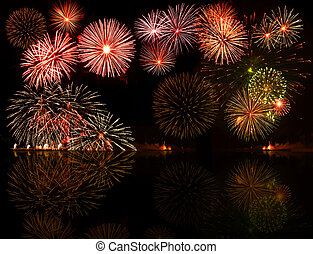 fireworks., sæt, e.g.2012, farverig, tekst, genstand,...