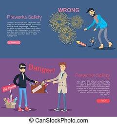 fireworks, safety., affare, pericolo, e, torto, uso