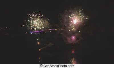 fireworks salute the night drone air flight 4k colorfull...