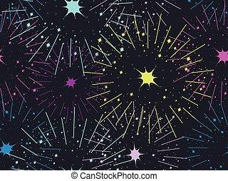 fireworks, seamless, pattern., festivo, fondo., vettore, illustrazione