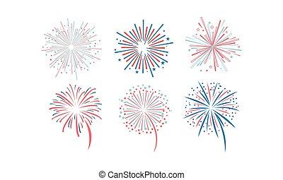 Fireworks set, design element for holidays, celebration party, anniversary or festival vector Illustration on a white background
