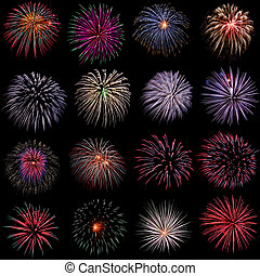 Fireworks set on black background