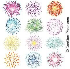 Fireworks set on white background