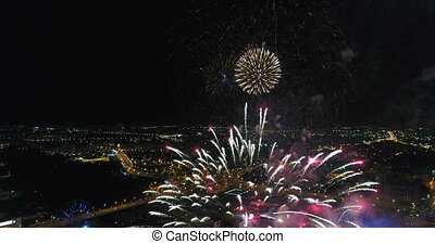 Fireworks shooting from the drone. - Festive salute in the...