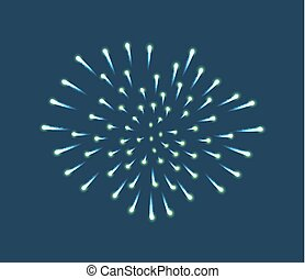 Fireworks Sparkles on Blue Sky Background Vector