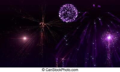 Fireworks - Beauty fireworks animation on dark background.