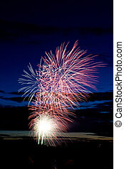 Fireworks - Bright and coloufull fireworks with cloudy night...