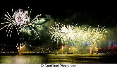 Fireworks - ISTANBUL - OCTOBER 29: Fireworks over Bosphorus...
