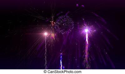 Fireworks. - Beauty fireworks animation on dark background.