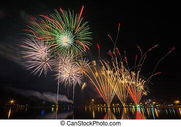 fireworks, thani, anni, udon, 122, tailandia, mostra, celebrare