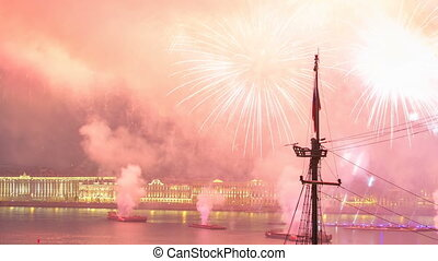 """Fireworks timelapse over the city of St. Petersburg Russia on the feast of """"Scarlet Sails"""", view from roof."""
