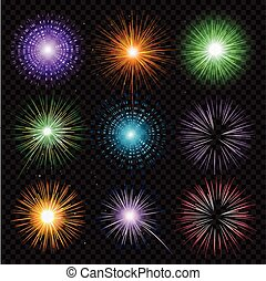 Fireworks vector collection transparency isolated on black background