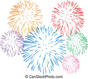 fireworks  - vector colorful fireworks on white background