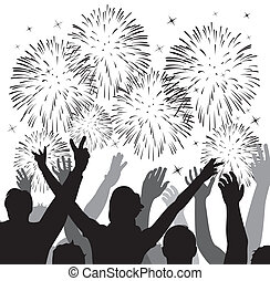fireworks - vector fireworks with silhouettes of happy...