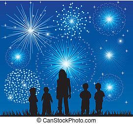 fireworks - vector children watching fireworks