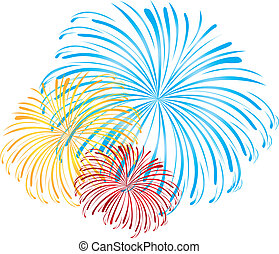 fireworks vector - blue, yellow and red fireworks isolated...