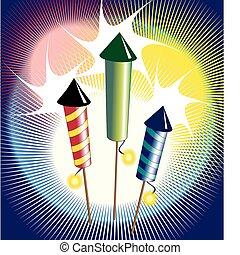 Fireworks - Vector illustration of fireworks - three...