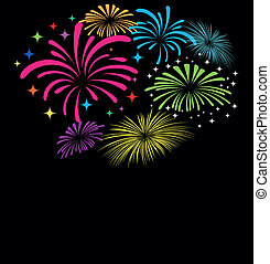 Fireworks vector on black background