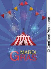 fireworks., vetorial, carnaval, feira, pintado, voador, divertimento, logotipo, template., barraca