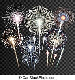 fireworks, vettore, set, isolato