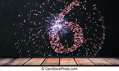 Animated fireworks exploding in 2019 and happy new year