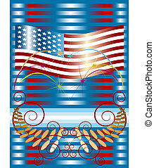 Fireworks  with American flag.Placa