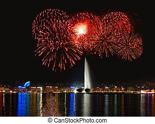 Fireworks with Geneva Fountain - Geneva lake front with...