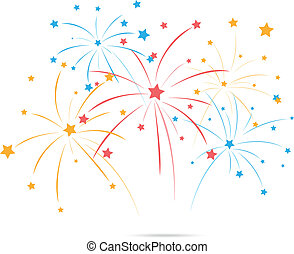 Fireworks with star on white - Vector Illustration of...