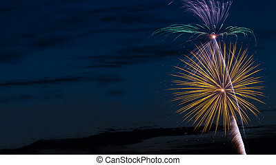 Fireworks with Text-Friendly Space - Brilliant, colorful ...