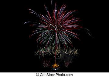 Fireworks light up the sky,Five Fireworks -...