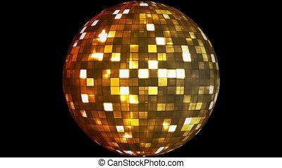 Firey Light Hi-Tech Squares Spinning Globe, Golden, Alpha Channel, Loopable, HD