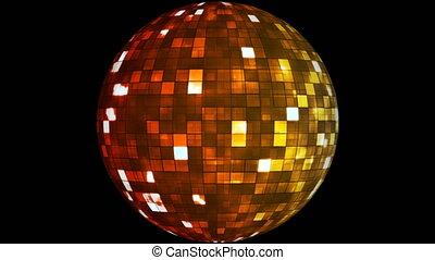 Firey Light Hi-Tech Squares Spinning Globe, Red Golden, Events, Alpha Matte, Loopable, 4K