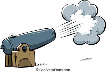 A cartoon cannon firing a shot.